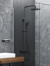 BLACK & STYLISH SET OF SHOWER COLUMN AND THERMOSTATIC FAUCET OLO (BK) + THERMO-15 (BK)!